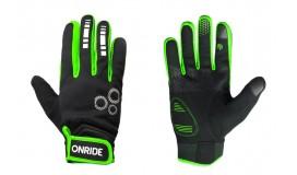 Перчатки ONRIDE Pleasure 20 из ветрозащитной ткани, черный/зелёный