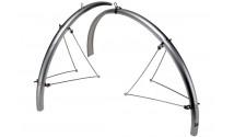 """Крылья Zefal 26-28"""" Paragon Steel Bridge MTB Set (204002) cтационарн. передн.+ задн. длинные с метал. опорами, серебр."""