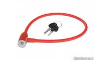 Велозамок KLS Jolly тросовый 12x650 мм красный